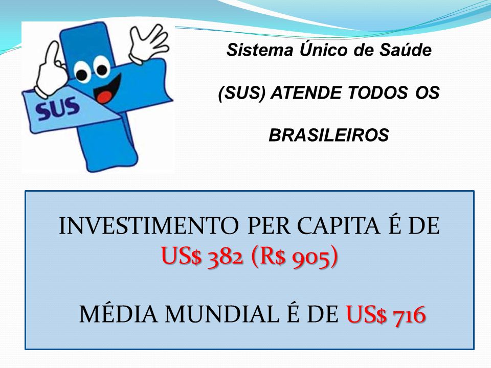 Sistema Único de Saúde (SUS) ATENDE TODOS OS BRASILEIROS