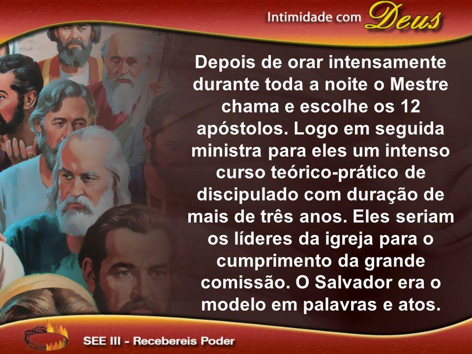 Depois de orar intensamente durante toda a noite o Mestre chama e escolhe os 12 apóstolos.