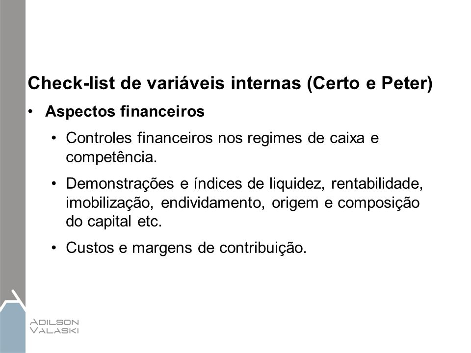 Check-list de variáveis internas (Certo e Peter)
