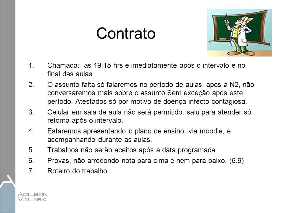 Contrato Chamada: as 19:15 hrs e imediatamente após o intervalo e no final das aulas.