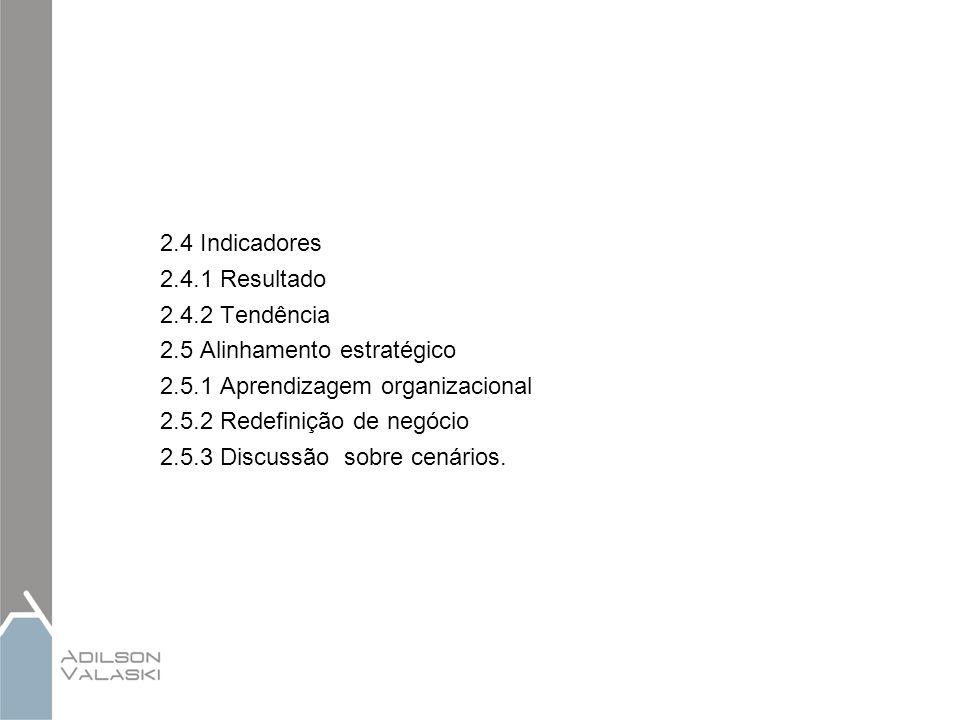2.4 Indicadores 2.4.1 Resultado 2.4.2 Tendência