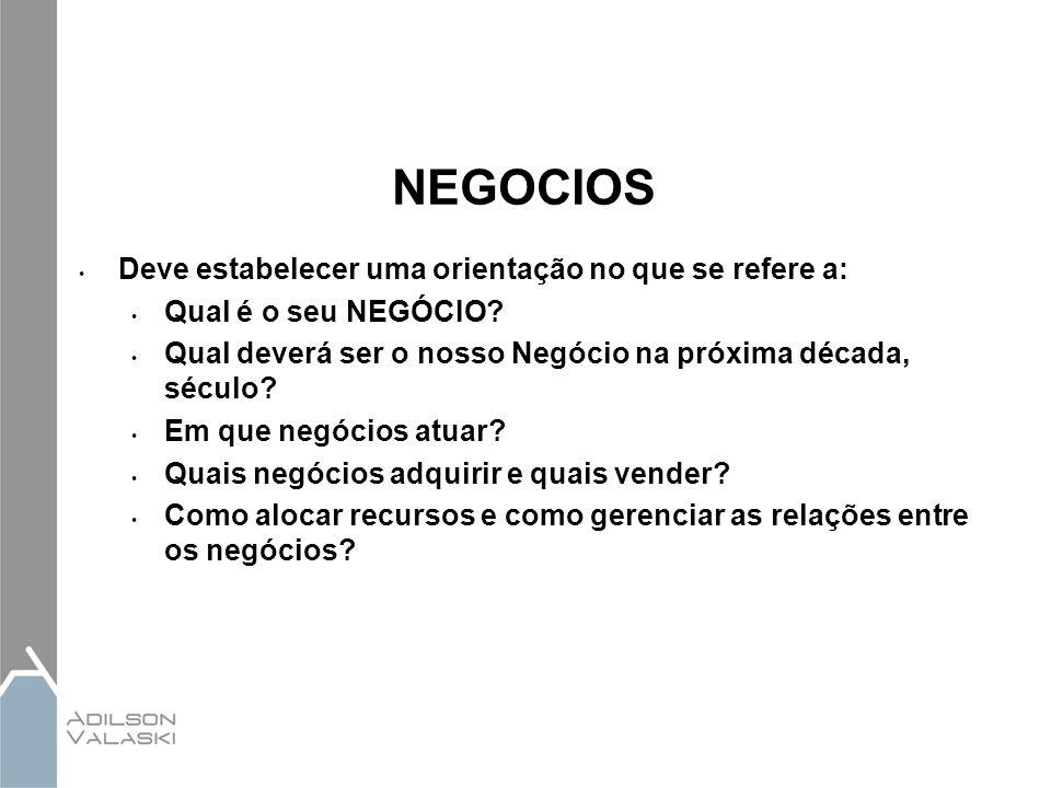 NEGOCIOS Deve estabelecer uma orientação no que se refere a: