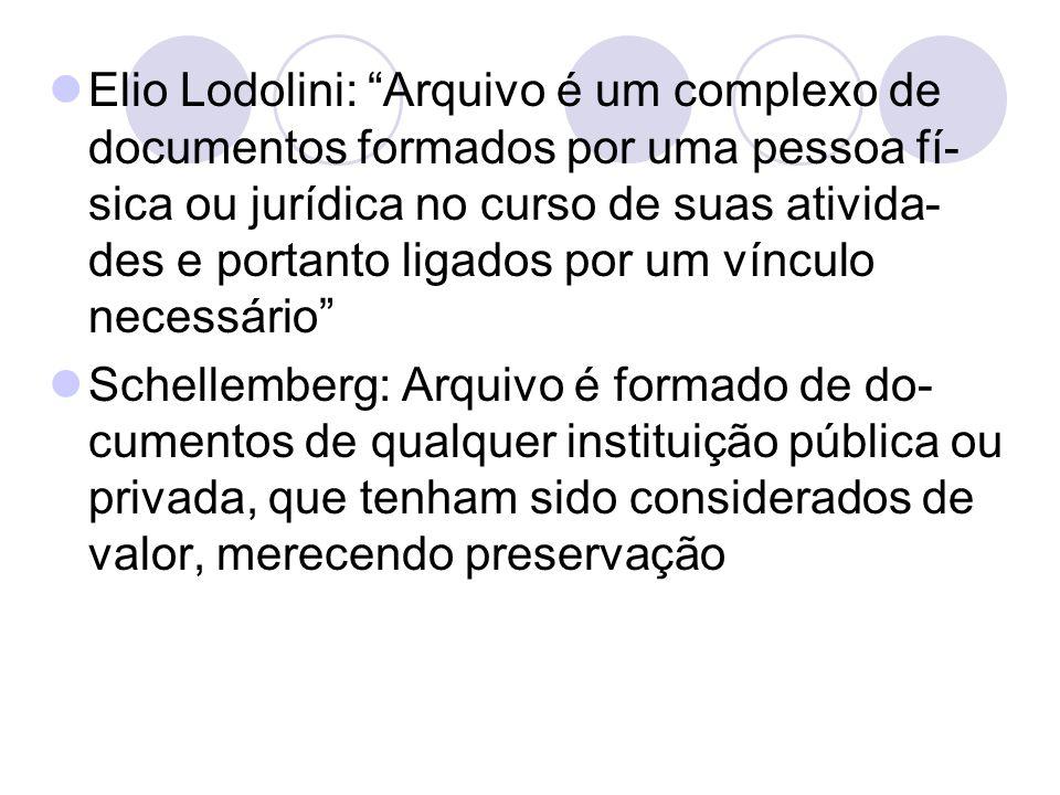 Elio Lodolini: Arquivo é um complexo de documentos formados por uma pessoa fí-sica ou jurídica no curso de suas ativida-des e portanto ligados por um vínculo necessário