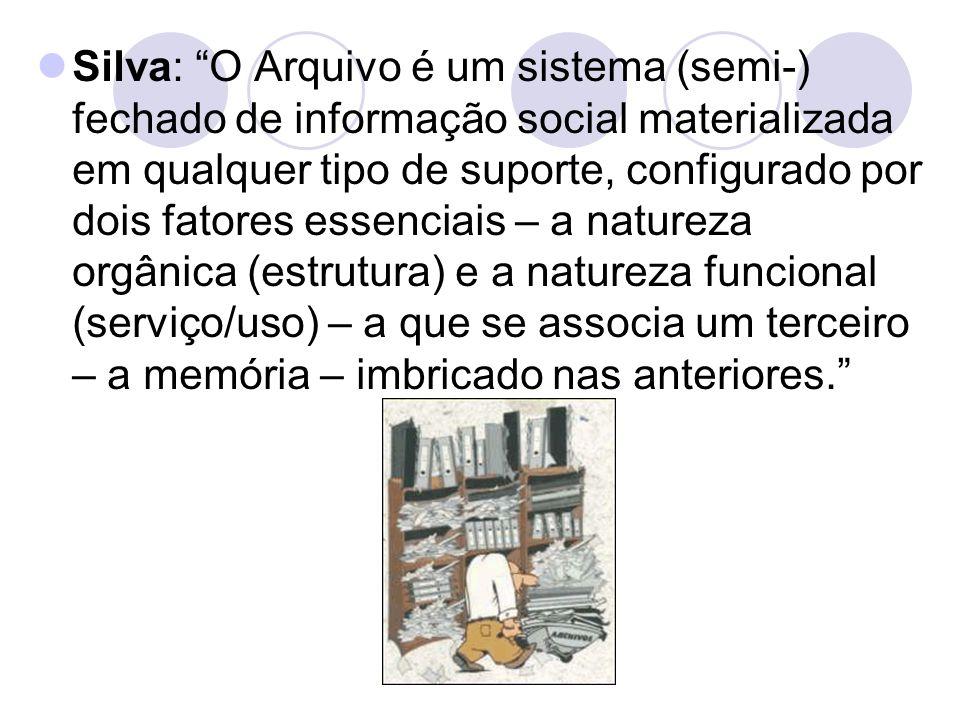 Silva: O Arquivo é um sistema (semi-) fechado de informação social materializada em qualquer tipo de suporte, configurado por dois fatores essenciais – a natureza orgânica (estrutura) e a natureza funcional (serviço/uso) – a que se associa um terceiro – a memória – imbricado nas anteriores.