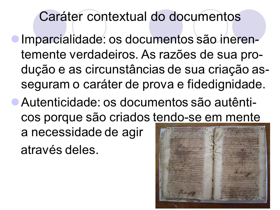 Caráter contextual do documentos