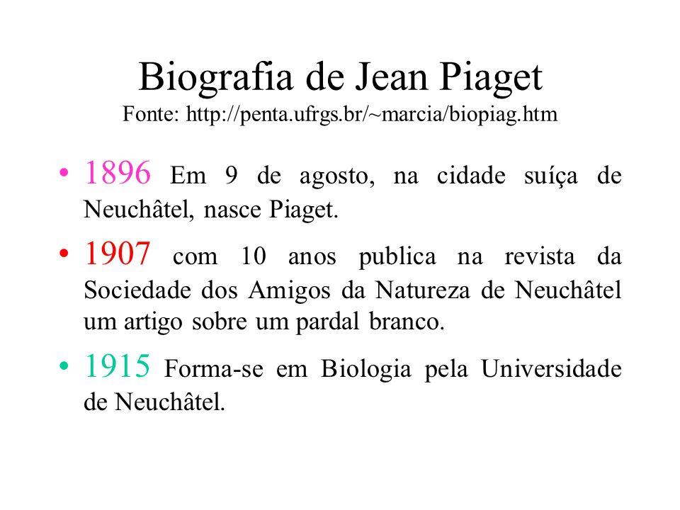 Biografia de Jean Piaget Fonte: http://penta.ufrgs.br/~marcia/biopiag.htm