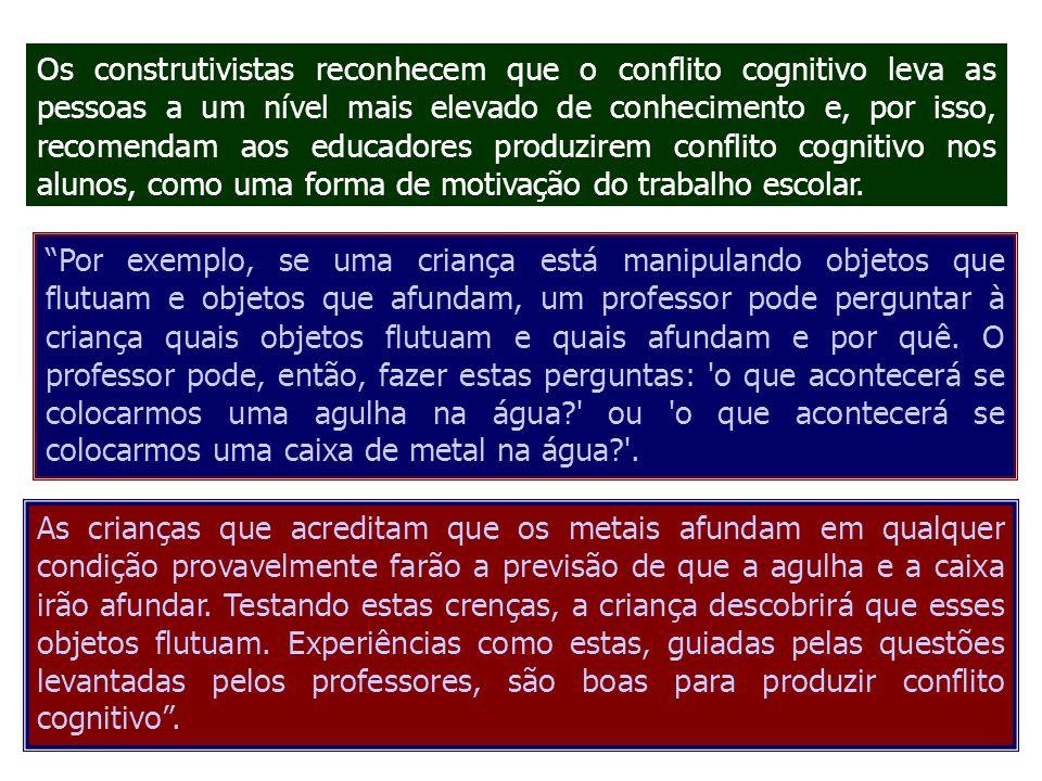 Os construtivistas reconhecem que o conflito cognitivo leva as pessoas a um nível mais elevado de conhecimento e, por isso, recomendam aos educadores produzirem conflito cognitivo nos alunos, como uma forma de motivação do trabalho escolar.