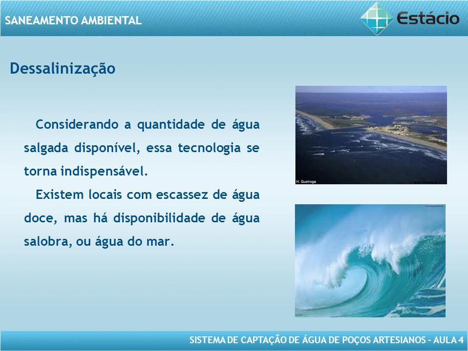 Dessalinização Considerando a quantidade de água salgada disponível, essa tecnologia se torna indispensável.