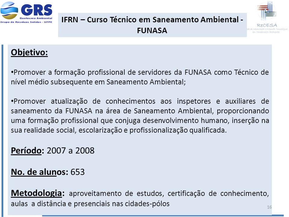 IFRN – Curso Técnico em Saneamento Ambiental - FUNASA