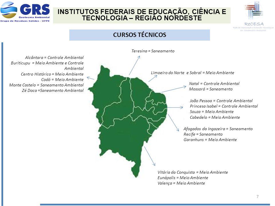 INSTITUTOS FEDERAIS DE EDUCAÇÃO, CIÊNCIA E TECNOLOGIA – REGIÃO NORDESTE