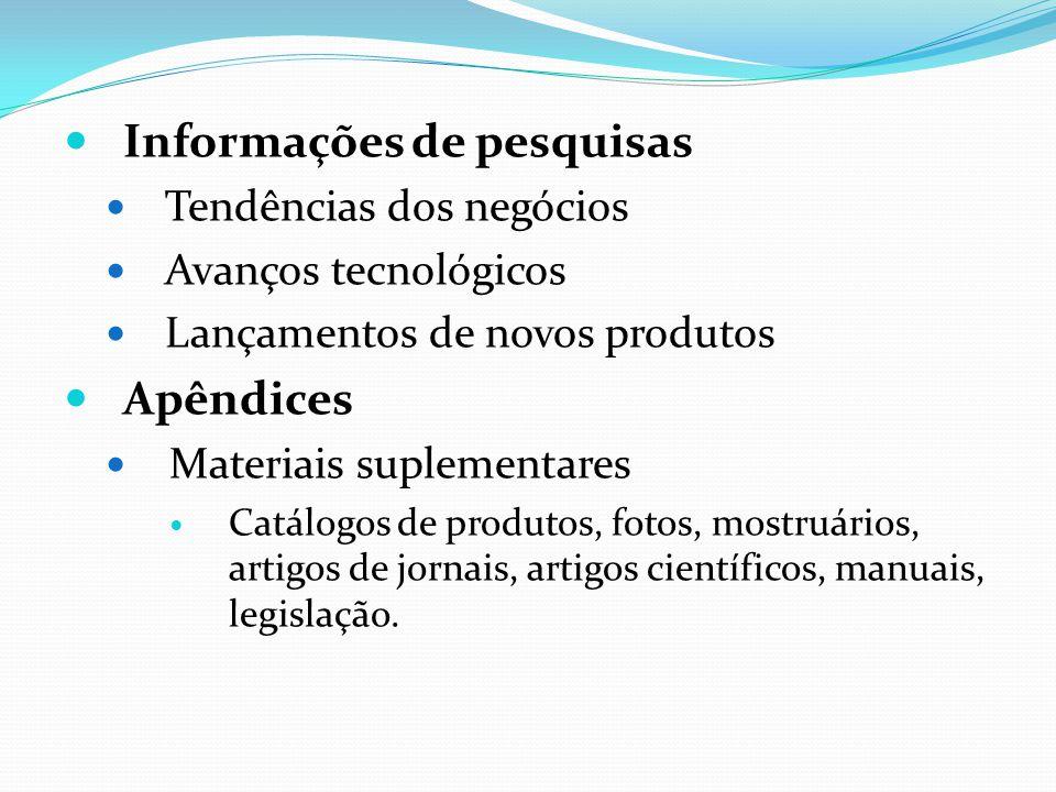 Informações de pesquisas