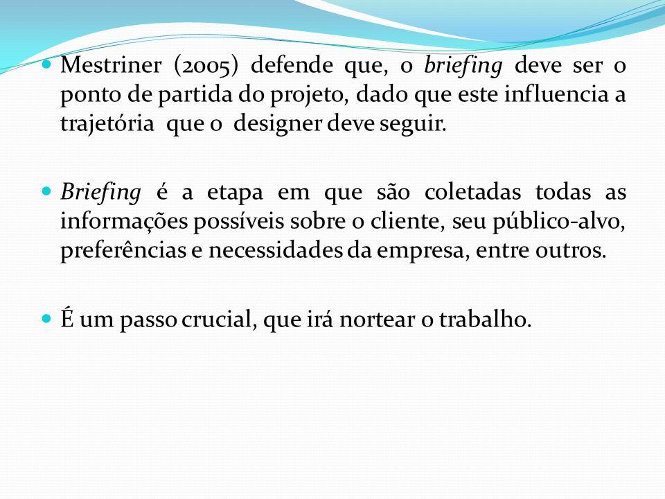 Mestriner (2005) defende que, o briefing deve ser o ponto de partida do projeto, dado que este influencia a trajetória que o designer deve seguir.