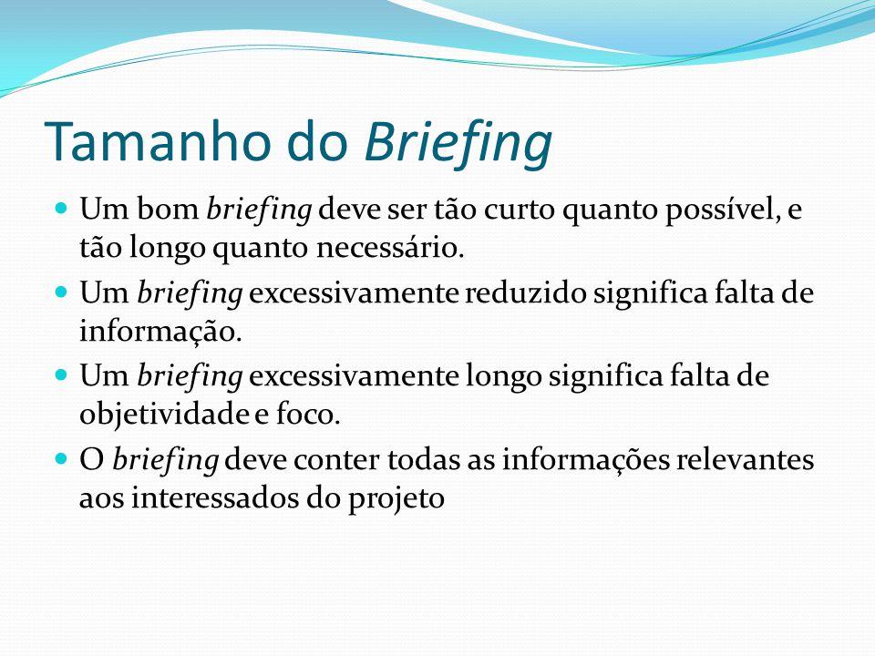 Tamanho do Briefing Um bom briefing deve ser tão curto quanto possível, e tão longo quanto necessário.