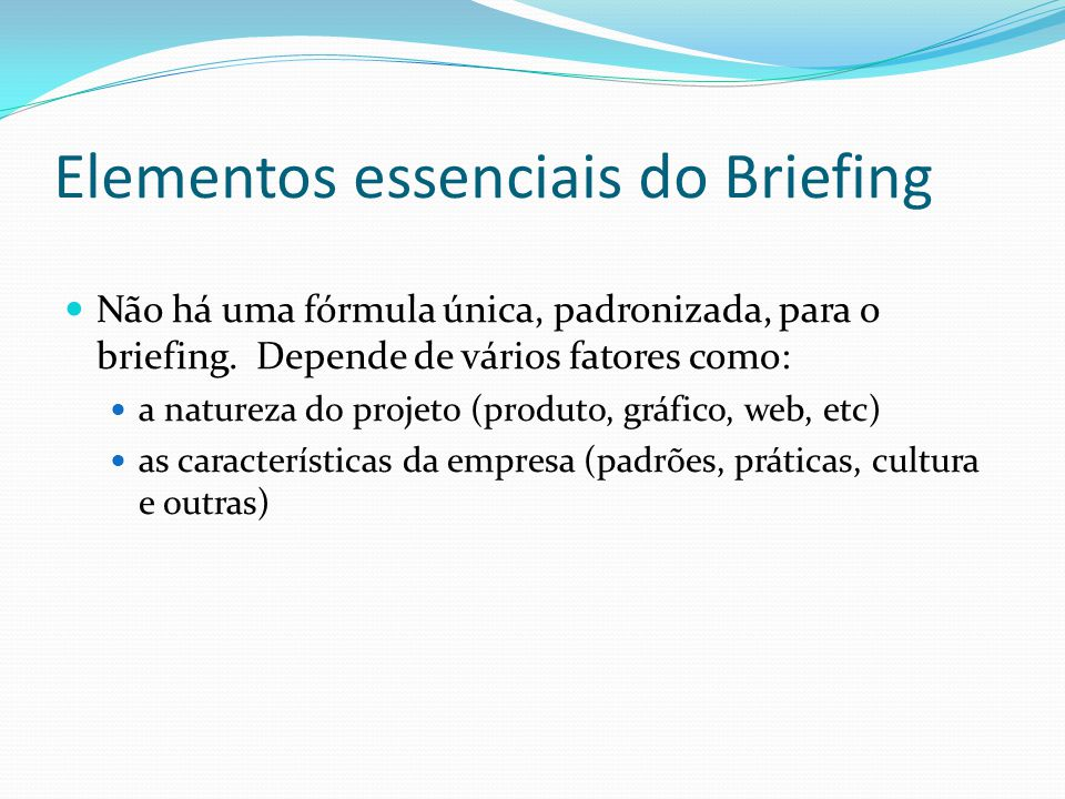 Elementos essenciais do Briefing