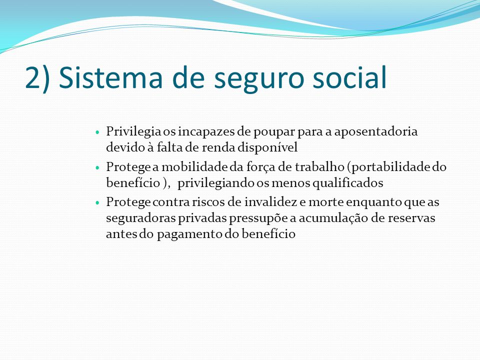 2) Sistema de seguro social