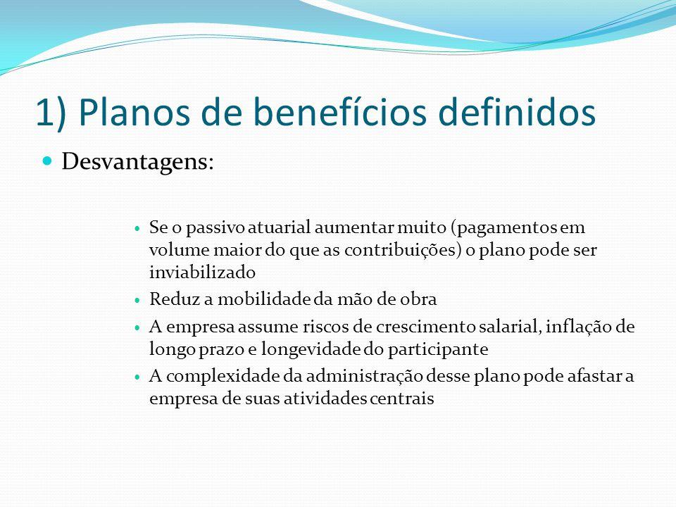 1) Planos de benefícios definidos