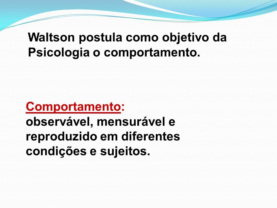 Waltson postula como objetivo da Psicologia o comportamento.