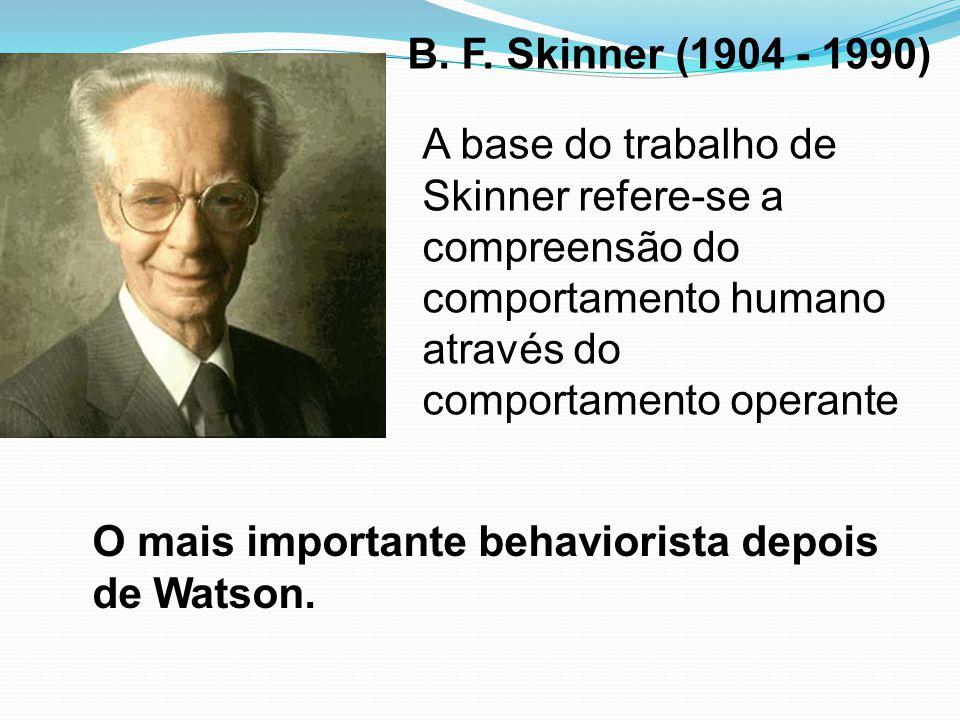 B. F. Skinner (1904 - 1990) A base do trabalho de Skinner refere-se a compreensão do comportamento humano através do comportamento operante.