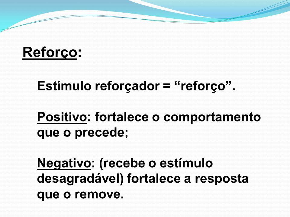 Reforço: Estímulo reforçador = reforço .