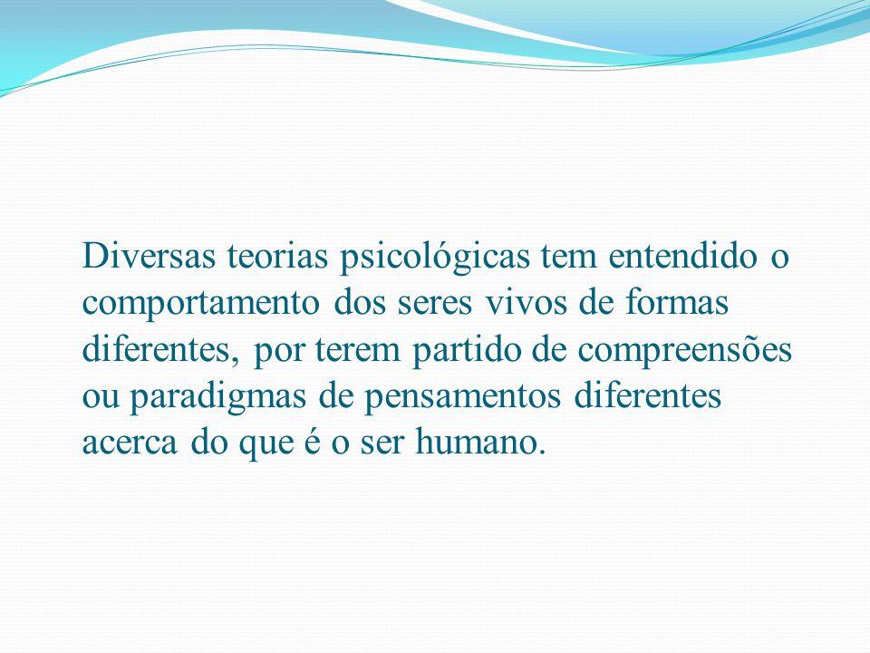 Diversas teorias psicológicas tem entendido o comportamento dos seres vivos de formas diferentes, por terem partido de compreensões ou paradigmas de pensamentos diferentes acerca do que é o ser humano.