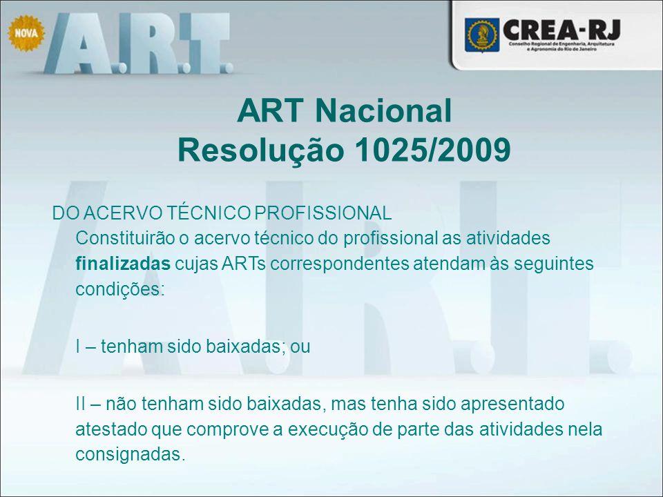 ART Nacional Resolução 1025/2009
