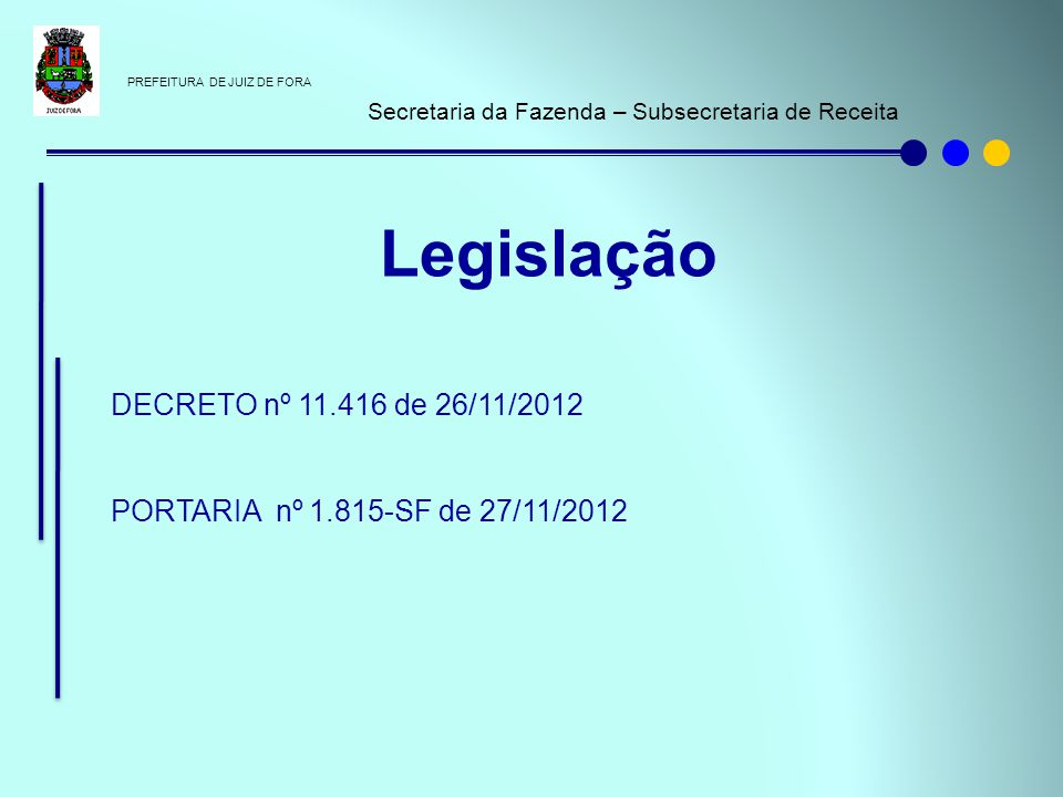 Legislação DECRETO nº 11.416 de 26/11/2012