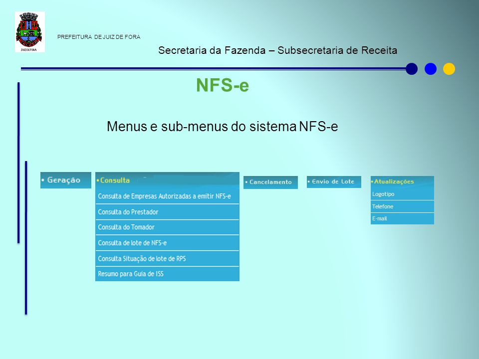 Menus e sub-menus do sistema NFS-e