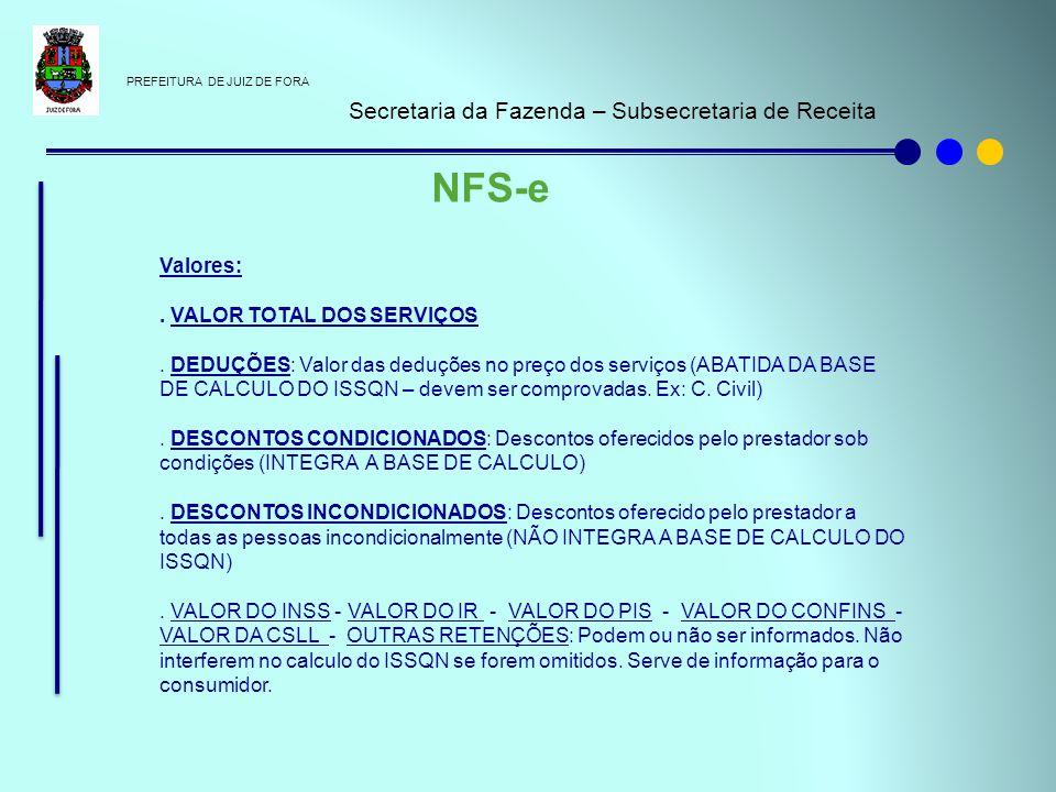NFS-e Secretaria da Fazenda – Subsecretaria de Receita Valores: