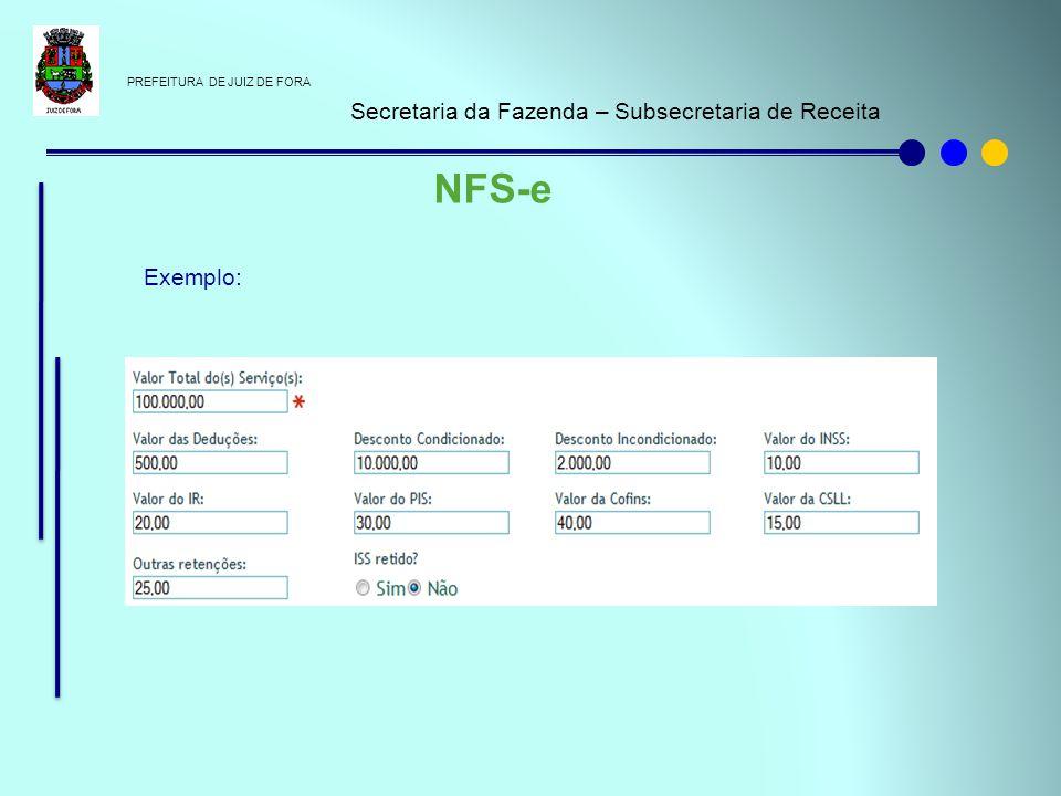 NFS-e Secretaria da Fazenda – Subsecretaria de Receita Exemplo: