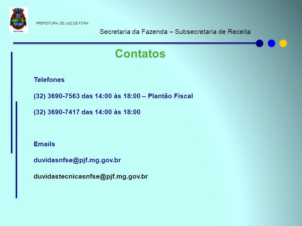 Contatos Secretaria da Fazenda – Subsecretaria de Receita Telefones