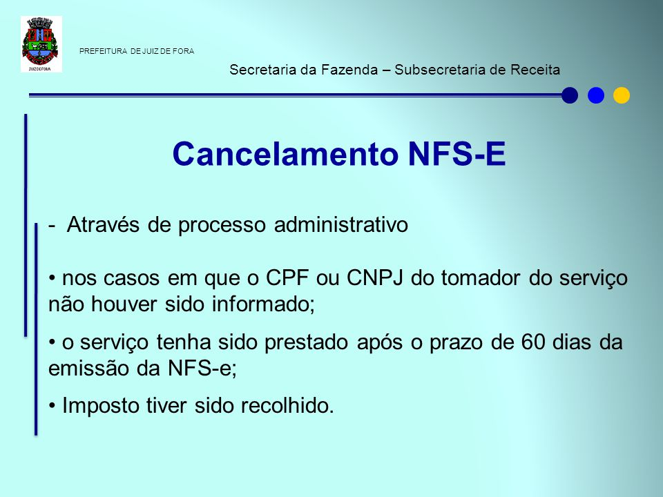 Cancelamento NFS-E - Através de processo administrativo