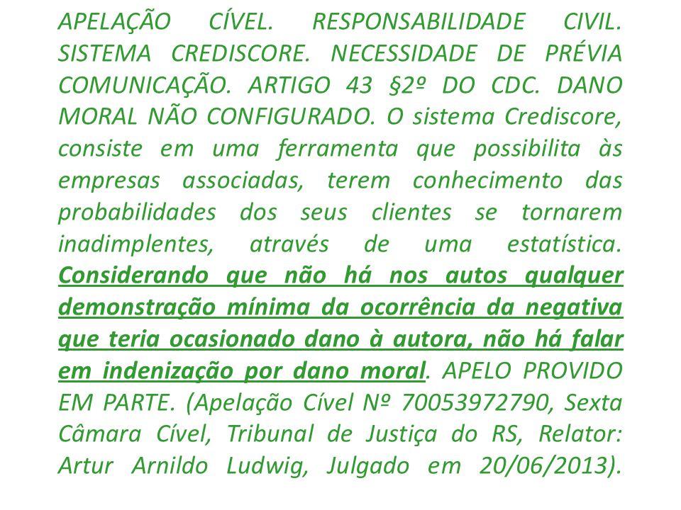 APELAÇÃO CÍVEL. RESPONSABILIDADE CIVIL. SISTEMA CREDISCORE