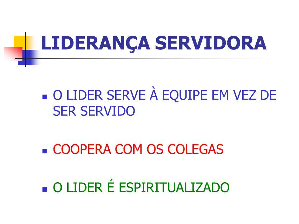 LIDERANÇA SERVIDORA O LIDER SERVE À EQUIPE EM VEZ DE SER SERVIDO