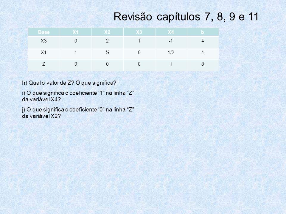 Revisão capítulos 7, 8, 9 e 11 h) Qual o valor de Z O que significa