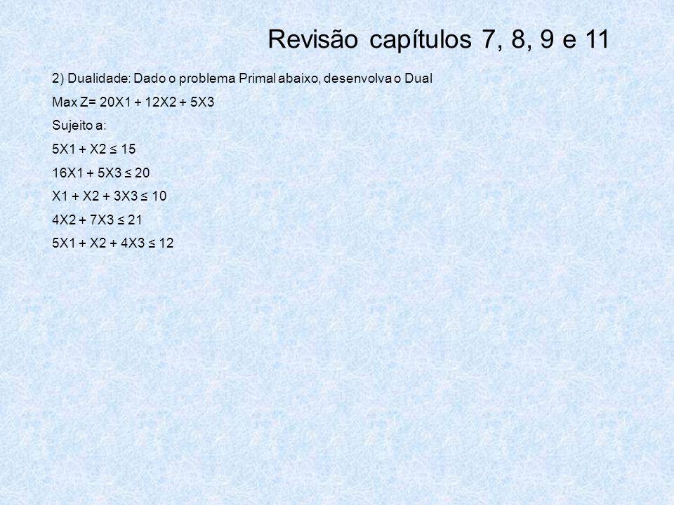Revisão capítulos 7, 8, 9 e 11 2) Dualidade: Dado o problema Primal abaixo, desenvolva o Dual. Max Z= 20X1 + 12X2 + 5X3.