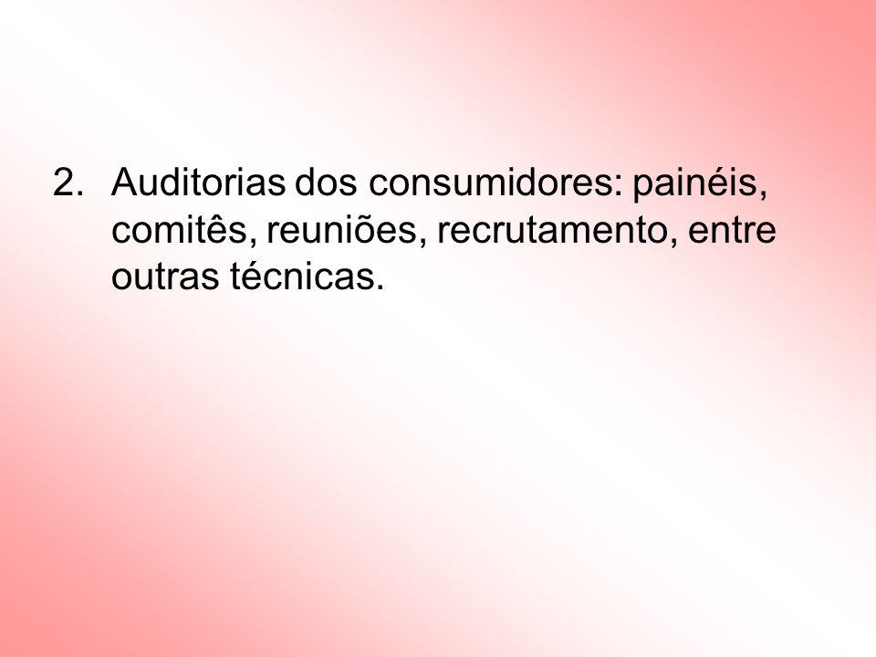 Auditorias dos consumidores: painéis, comitês, reuniões, recrutamento, entre outras técnicas.