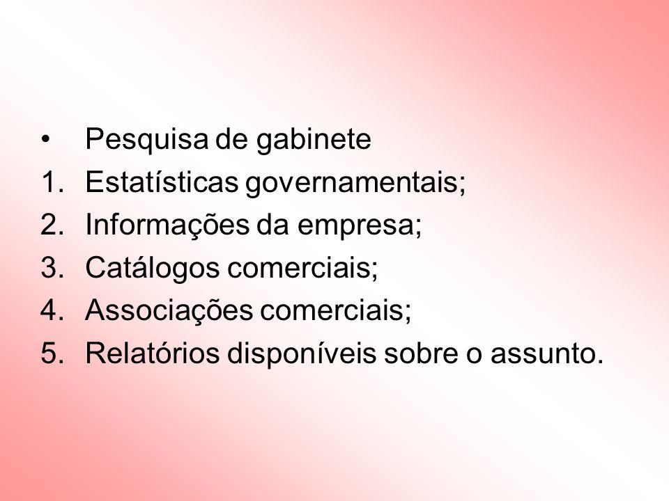 Pesquisa de gabinete Estatísticas governamentais; Informações da empresa; Catálogos comerciais; Associações comerciais;