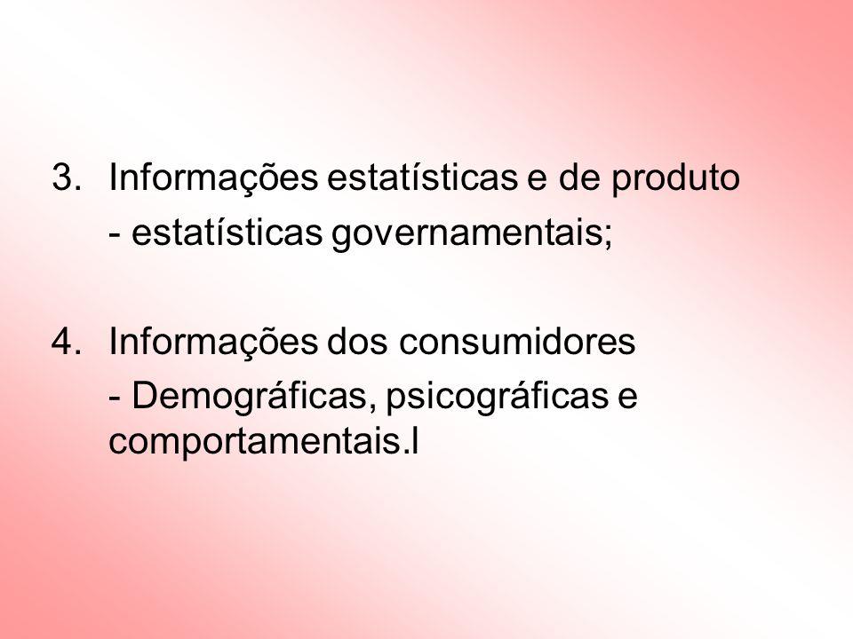 Informações estatísticas e de produto