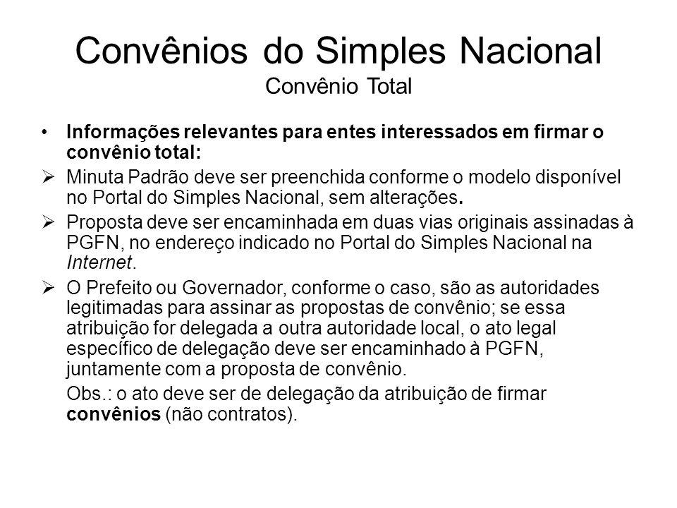 Convênios do Simples Nacional Convênio Total