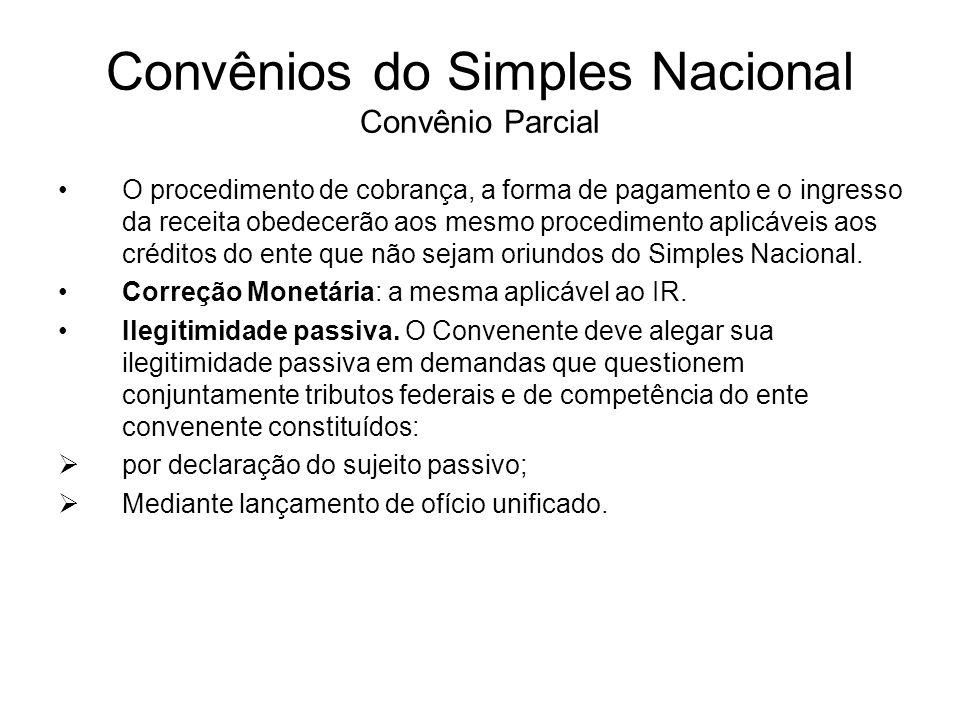 Convênios do Simples Nacional Convênio Parcial
