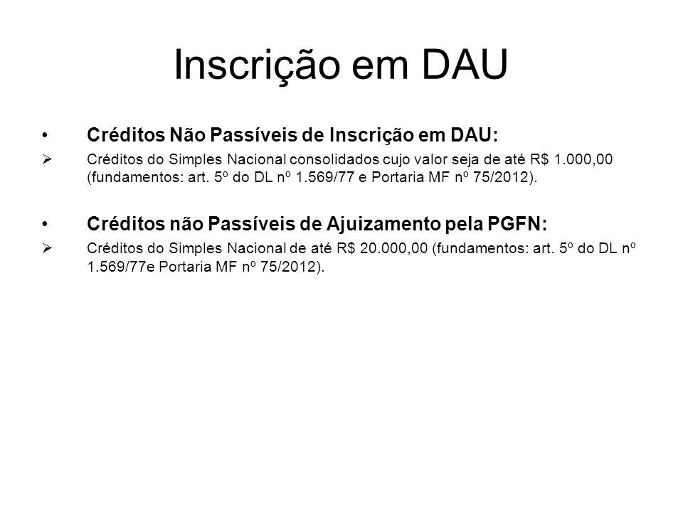 Inscrição em DAU Créditos Não Passíveis de Inscrição em DAU: