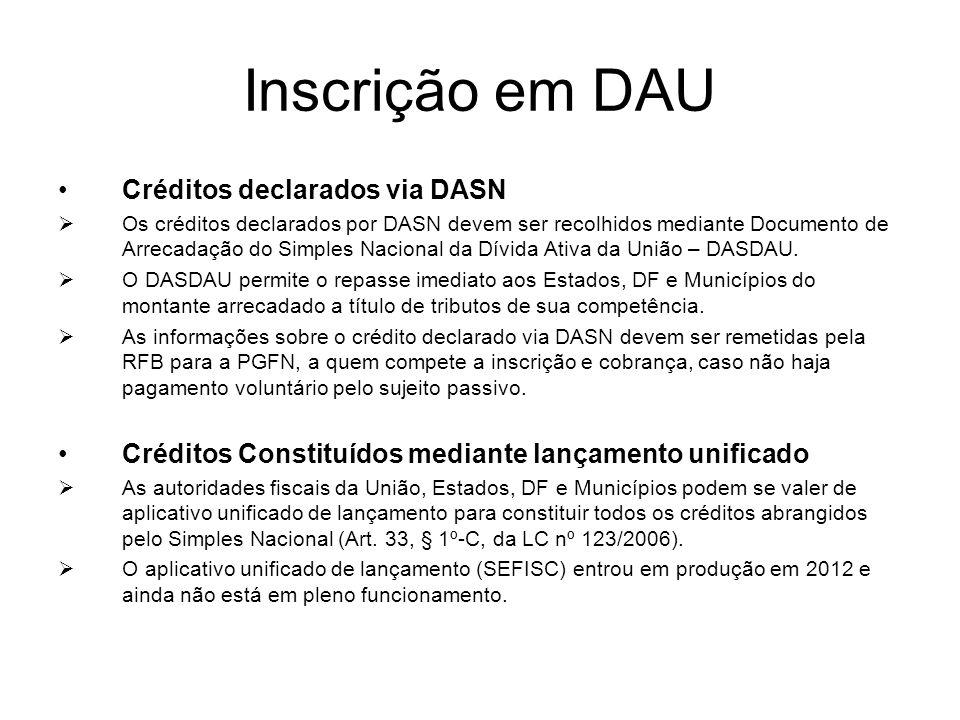 Inscrição em DAU Créditos declarados via DASN