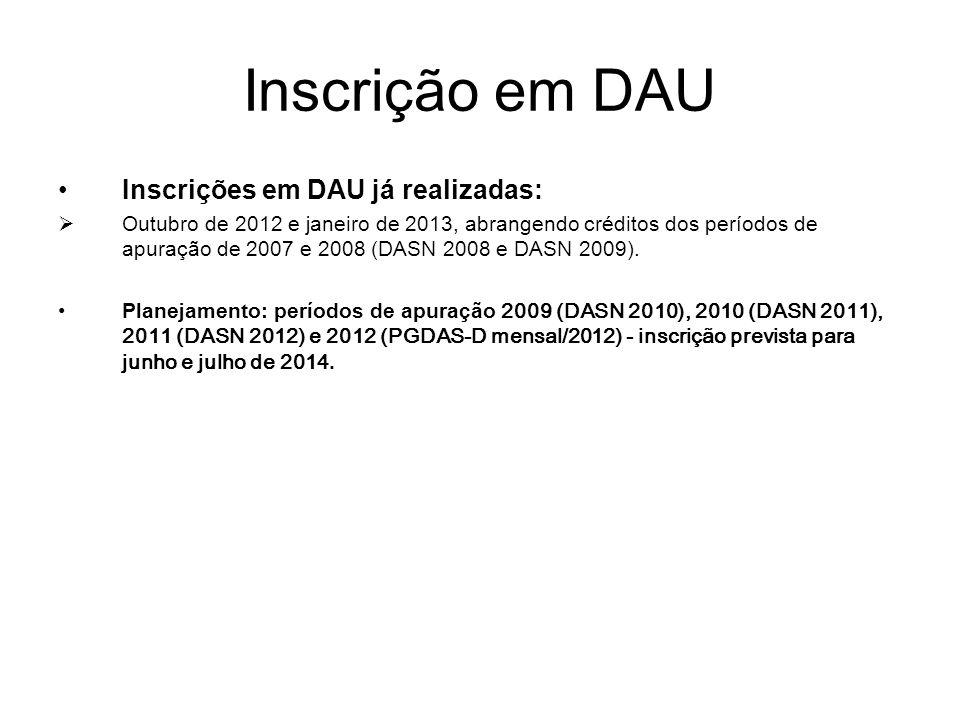 Inscrição em DAU Inscrições em DAU já realizadas: