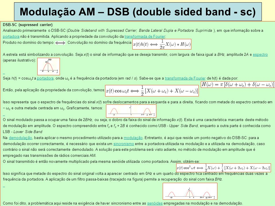 Modulação AM – DSB (double sided band - sc)