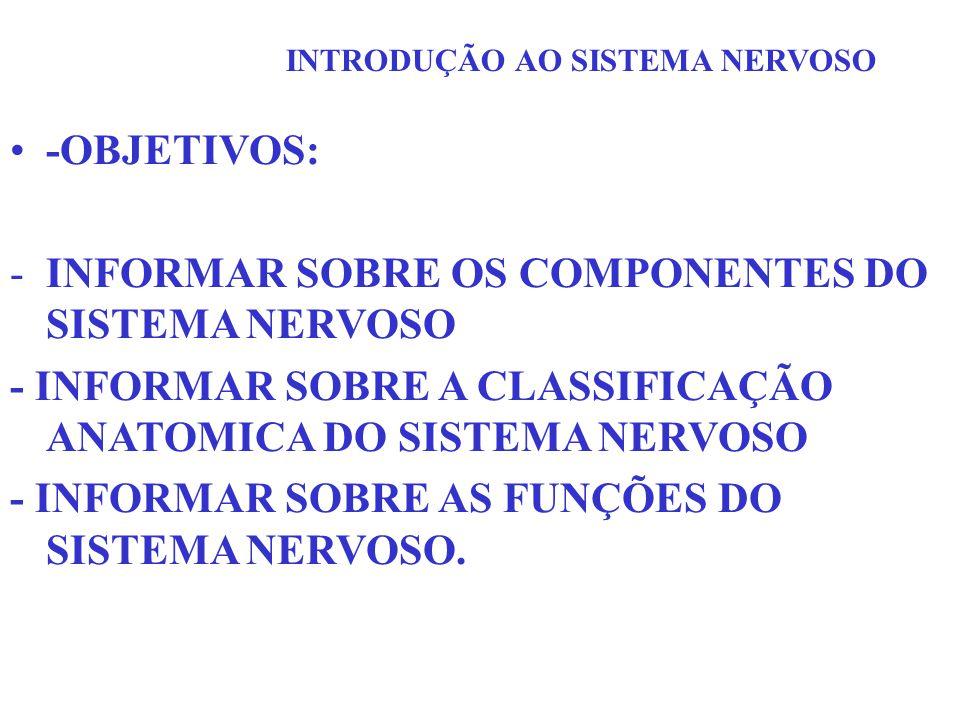 INFORMAR SOBRE OS COMPONENTES DO SISTEMA NERVOSO