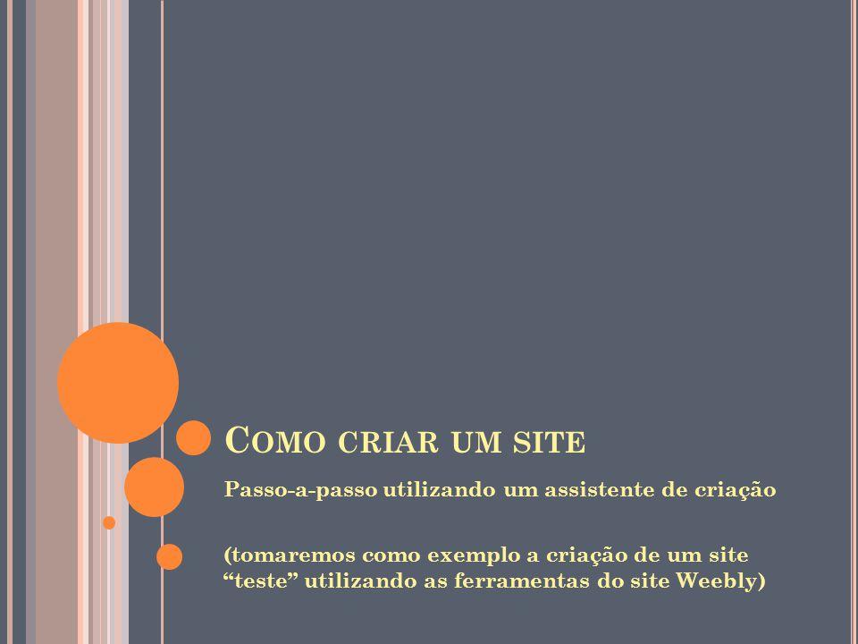 Como criar um site Passo-a-passo utilizando um assistente de criação