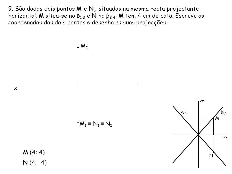 9. São dados dois pontos M e N, situados na mesma recta projectante horizontal. M situa-se no β1,3 e N no β2,4. M tem 4 cm de cota. Escreve as coordenadas dos dois pontos e desenha as suas projecções.