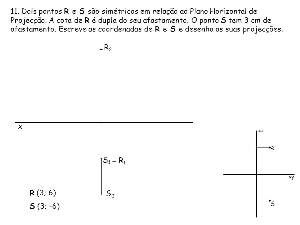 11. Dois pontos R e S são simétricos em relação ao Plano Horizontal de Projecção. A cota de R é dupla do seu afastamento. O ponto S tem 3 cm de afastamento. Escreve as coordenadas de R e S e desenha as suas projecções.