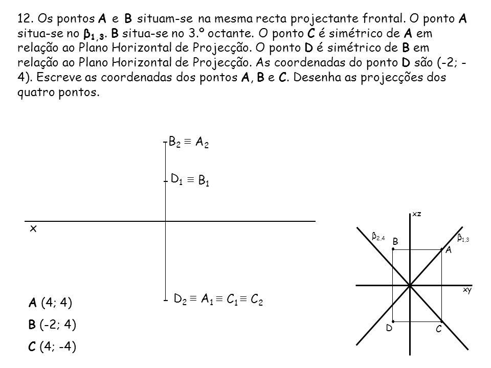 12. Os pontos A e B situam-se na mesma recta projectante frontal