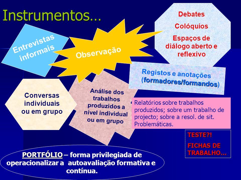 Instrumentos… Entrevistas informais Observação Debates Colóquios